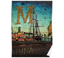 Grungy Melbourne Australia Alphabet Letter M Marina Docklands Poster
