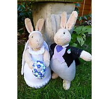 Knitted Bride and Groom Rabbits Photographic Print