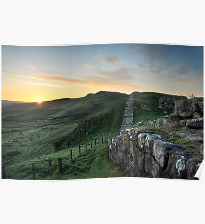 Sunrise over Hadrian's Wall from Cawfield Crags Poster