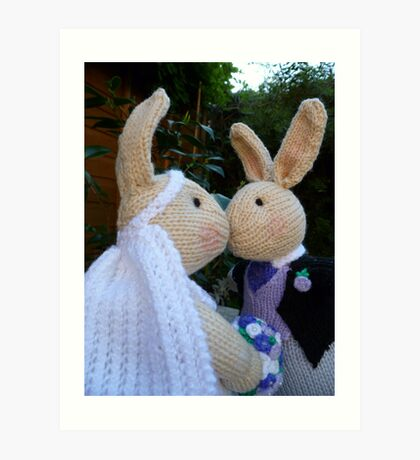 Knitted Bride and Groom Rabbits Art Print