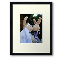 Knitted Bride and Groom Rabbits Framed Print