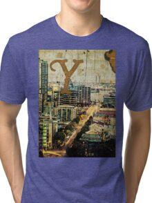 Grungy Melbourne Australia Alphabet Letter Y Yarra River Tri-blend T-Shirt