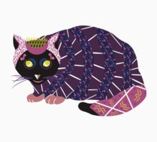 Abstract Cat [BLACK] One Piece - Short Sleeve