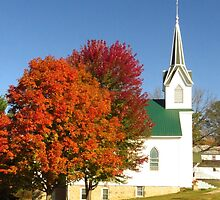 Country Church in Autumn  by lorilee