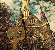 Grungy Melbourne Australia Alphabet Letter P St Patrick's Cathedral by Beverly Claire Kaiya