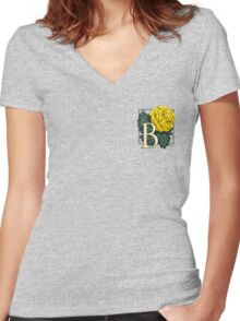 B is for Begonia - patch Women's Fitted V-Neck T-Shirt