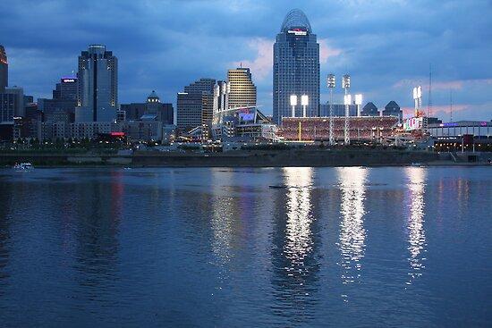 Night Game - Cincinnati Great American Ballpark by Tony Wilder
