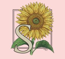 S is for Sunflower - patch One Piece - Short Sleeve