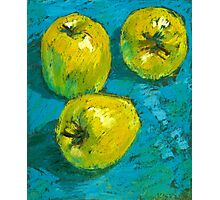 Three Green Apples Photographic Print