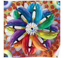 Rainbow Dolphin Pin Wheel Pizza Explosion Poster