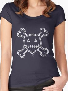 Percentum Skull & Xbones4 (white) Women's Fitted Scoop T-Shirt