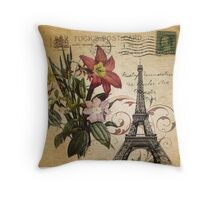 vintage retro paris eiffel tower lily floral botanical art Throw Pillow
