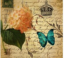 vintage butterfly hydrangea floral botanical art by lfang77