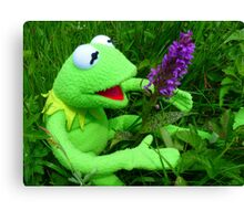 Orchid Getuepfeltes Frog Kermit Green Canvas Print