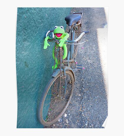 Bike Old Cycling Frog Kermit Poster