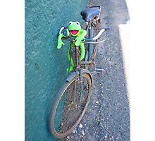 Bike Old Cycling Frog Kermit Photographic Print