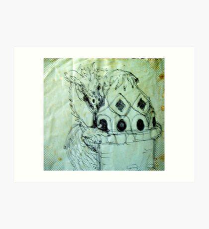 blue dragon castle Art Print