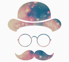 Retro Face with Moustache & Glasses / Universe - Galaxy Hipster (GOLD)) One Piece - Short Sleeve