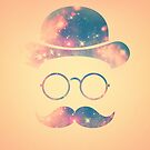 Retro Face with Moustache & Glasses / Universe - Galaxy Hipster (GOLD)) by badbugs