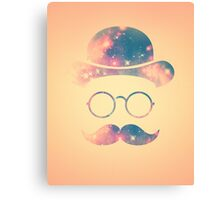 Retro Face with Moustache & Glasses / Universe - Galaxy Hipster (GOLD)) Canvas Print