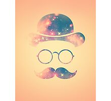 Retro Face with Moustache & Glasses / Universe - Galaxy Hipster (GOLD)) Photographic Print