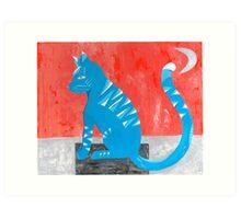 Blau Meow Art Print