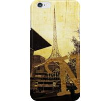Grungy Melbourne Australia Alphabet Letter N National Gallery Victoria Wireframe Tower iPhone Case/Skin