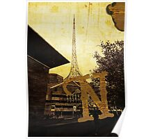 Grungy Melbourne Australia Alphabet Letter N National Gallery Victoria Wireframe Tower Poster