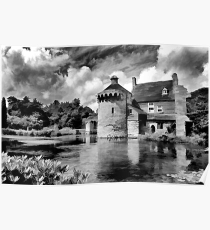 Black and White Scotney Castle Poster