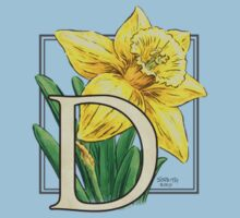 D is for Daffodil - patch Kids Tee
