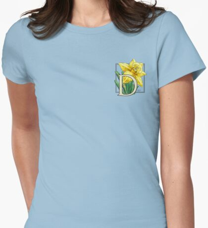 D is for Daffodil - patch Womens Fitted T-Shirt