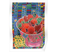 Pink Bowl and Red Strawberries Poster