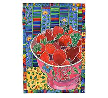 Pink Bowl and Red Strawberries Photographic Print