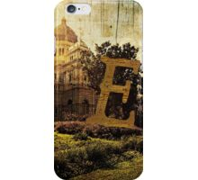 Grungy Melbourne Australia Alphabet Letter E Royal Exhibition Building iPhone Case/Skin