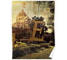 Grungy Melbourne Australia Alphabet Letter E Royal Exhibition Building Poster