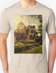 Grungy Melbourne Australia Alphabet Letter E Royal Exhibition Building T-Shirt