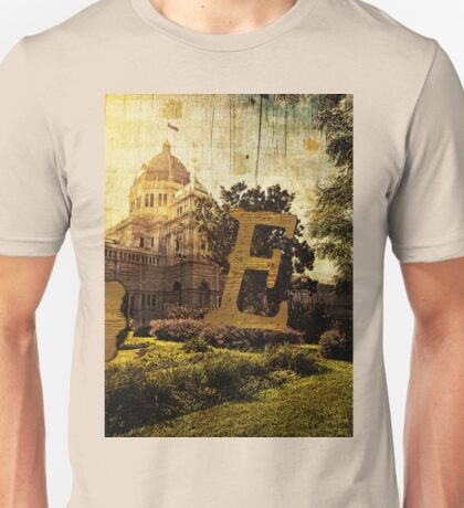 Grungy Melbourne Australia Alphabet Letter E Royal Exhibition Building Unisex T-Shirt
