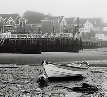White Dory and Misty Harbor Waterfront by Roupen  Baker