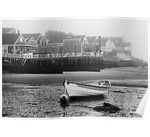 White Dory and Misty Harbor Waterfront Poster