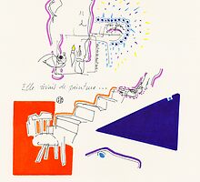 Night Drawings - Les Dessins de Nuit n°39  -  She dreamed about Painting... by Pascale Baud