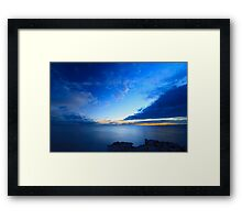 Beautiful blue sky over the sea at sunset  Framed Print