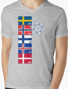 Nordic Cross Flags Mens V-Neck T-Shirt