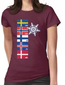 Nordic Cross Flags Womens Fitted T-Shirt