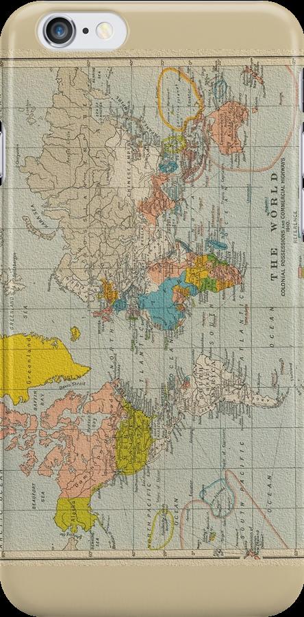 Vintage World Map 1910 by pixelman