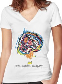 Jean Michel Basquiat Head Women's Fitted V-Neck T-Shirt