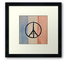 Paris Peace Symbol Eiffel Tower French Tricolor Framed Print