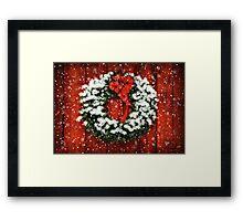 Snowy Christmas Wreath Framed Print