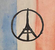 Paris Peace Symbol Eiffel Tower French Tricolor by podartist
