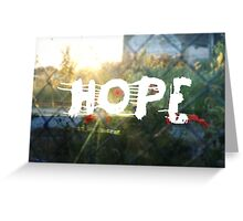urban hope with wasteground wild poppies Greeting Card