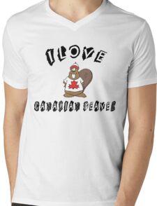 "Funny Canadian ""I Love Canadian Beaver"" T-Shirt Mens V-Neck T-Shirt"